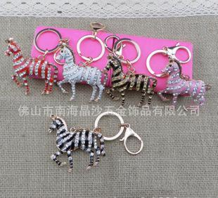 新款小马镶钻钥匙扣 包包挂件 高档金属钥匙扣 合金钥匙链;