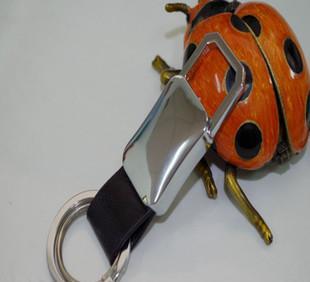厂家批发汽车钥匙扣 双环腰带钥匙扣 个性金属真皮钥匙扣 可定制;