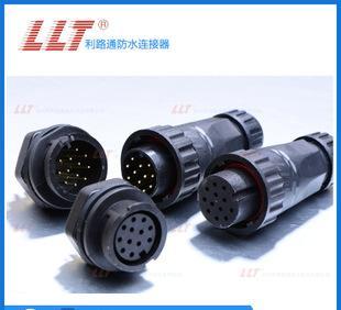 热卖利路通连接器-M22公针后装面板12芯圆形电源插头,公母连接器;