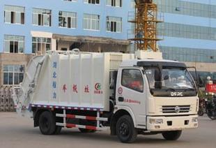 Dongfeng 8 party with four medium-sized exemption, environmental protection type compression type garbage truck