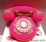 hellokitty电话机满钻新款粉嫩 镶钻迷你造型电话 卡通电话机很闪;