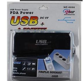 义乌供应 汽车一拖三点烟器 12V带USB 一分三车载电源分配器;