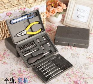24PC家用多功能工具箱 五金组合工具 工具套装 塑料组合工具盒;