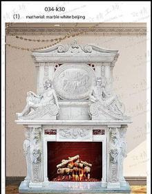 供給石彫刻の漢白玉の室内の飾り暖炉、洋式マントルピース、電気ペーチカ、西方の人物像、