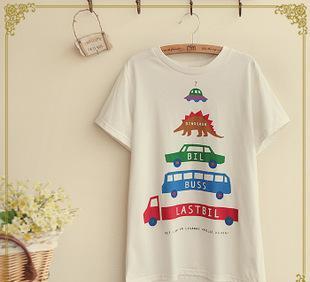 日系森林系 夏季新款女装 多种交通工具印花 棉质圆领短袖T恤批发;