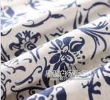 纺织棉类民族风仿蜡染青花瓷白底青花亚麻印花布棉麻布料服装面料;