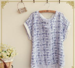 日系森林系 2015夏季新款女装 交通工具数字字母印花翻边T恤 短袖;