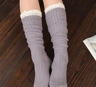 Europe and the explosion of knitting wool Leggings boots short winter set lace socks knee factory wholesale