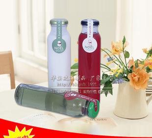 310/350/500ml 冷圆泡茶瓶奶茶瓶冰桔茶瓶木塞饮料玻璃瓶马口铁盖;