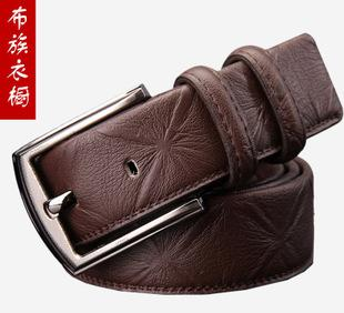 The first layer of leather leather belt men's casual fashion brand all-match bronze buckle belt