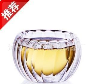 专业生产供应精品品茗杯玻璃双层南瓜条纹小品杯 玻璃茶具;