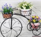 包邮 欧式铁艺自行车多层落地户外花盆架 创意室内可移动铁艺花架;