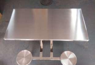 家具五金厂家批发餐厅餐桌椅饭店加工学校食堂不锈钢连体餐桌椅;
