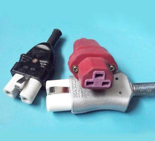 高温电源插头 柔软25A氟橡胶电源插头 耐酸高温插头 两极电源插头;
