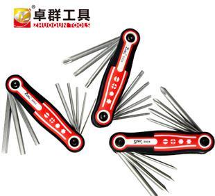 厂家直销折叠六角梅花星形螺丝刀套装维修工具多功能组合9904;