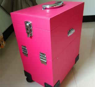 多层拉杆箱万向轮PU新款化妆箱明星专用化妆公工具皮质收纳箱;