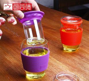 明尚德玻璃杯 带滤网 450ml创意水杯 高硼硅玻璃杯 厂家定制批发;