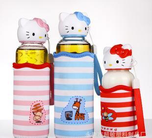 厂家直销可爱卡通玻璃杯 高硼硅玻璃水瓶 儿童便携玻璃杯子耐高温;