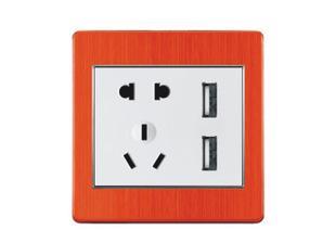 世洛华 五孔二三极墙壁插座带二位SUB 激情红铝拉丝 家用办公;