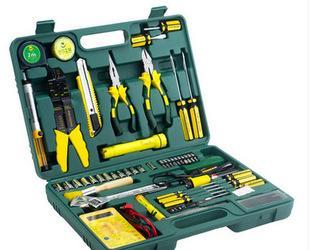 得力五金电动手动工具套装 50件套电工电讯维修工具箱家用组套;