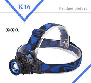 灯珠强光充电头灯 LED户外旋转变焦远射防水强光头灯;