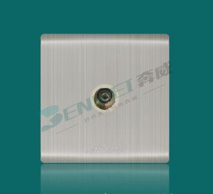 不锈钢拉丝面板电视插座,电视分配器插座,86型墙壁式TV转换插座;