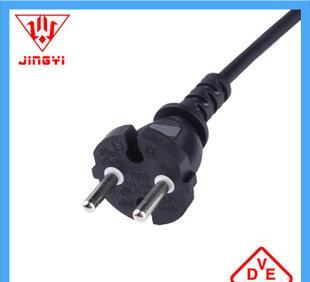 电源线插头 VDE认证两芯电源线 JY-02插头 两极电源插头批发定制;