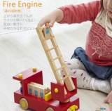 日本ed.inter 木制森林消防车卡车 宝宝益智早教木制玩具汽车;