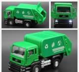 正品1:32 合金回力工程车 合金环卫车 垃圾车 带灯光音乐 三开门;