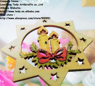 镂空彩色木雕刻挂件圣诞节木片精美吊饰雕刻木片动物