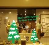 m-57外贸爆款彩色圣诞树雪花墙贴 玻璃橱窗装饰贴纸 精雕质量好;