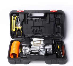 厂家直销车载汽车充气泵双缸 便携式汽车打气筒补胎工具箱;