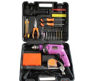 家用多功能电动工具组合套件 冲击钻 各类钻头 数显测电笔等