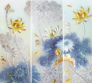 艺术玻璃 广州玻璃深加工 荷塘月色 阳台隔断玻璃 衣柜移门玻璃;