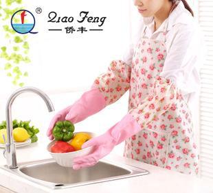 侨丰加绒加厚加长家务手套家用乳胶手套 洗衣 洗碗橡胶清洁手套;
